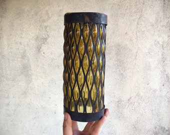 Vintage Mexican Caged Glass Sconce Hand Blown Amber Glass Iron Lantern, Hurricane Candle Holder for Pillar LED