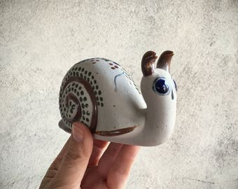 Tonala Pottery Snail Figurine Mexican Pottery Tonala Mexico Folk Art, Snail Gifts for Gardener