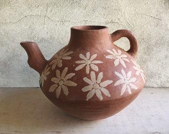 Vintage Mexican Pottery Water Pitcher Pot with Flower Design Primitive Decor, Mexican Decor