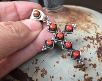 Signed Zuni Red Coral Cross Pendant for Women or Men, Native American Indian Jewelry for Religious