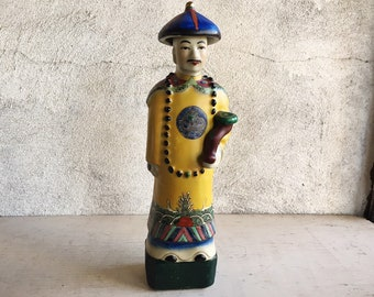 Vintage Chinese Emperor with Yellow Robe Figurine, Hand Painted Bisque Porcelain Statue Asian Decor