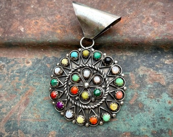 German Silver Multi Stone Pendant in Snake Eye Setting by Navajo James, Colorful Southwest Jewelry