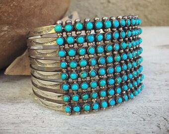 1930s Eight Row Zuni Snake Eye Vintage Turquoise Cuff Bracelet, Native American Indian Jewelry