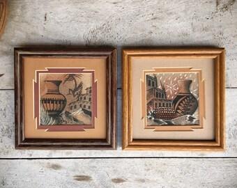 "Pair of vintage 16 x 16"" Navajo Alfred Watchman Kachina sand paintings Native American Indian art"