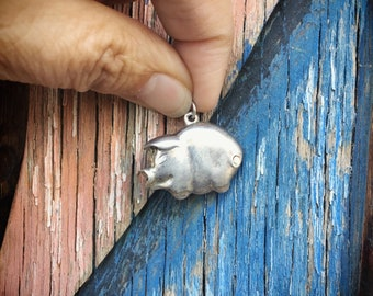 Vintage Sterling Silver Pig Charm Pendant for Necklace, Gift for Pig Lover, Pig Jewelry