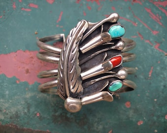 Sterling Silver Squash Blossom Cuff Bracelet with Turquoise Coral, Native American Indian Jewelry