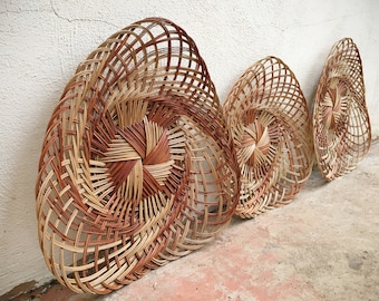 Set of Three Woven Wicker Wall Hangings, Gallery Wall, Bohemian Decor, Two-Tone Basket Weaving