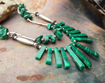 Vintage Malachite Sterling Silver Necklace for Women, Native American Indian Jewelry, Green Jewelry