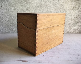 Dovetail Hinged 3x5 Index Card Box, Vintage Office Small File Wood Recipe Holder, Industrial Decor