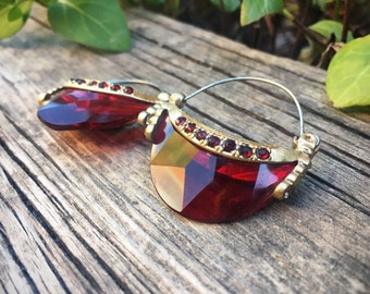 Vintage Costume Jewelry Earrings with Gold Tone Metal and Red Faux Rhinestones, Gold and Red Jewelry