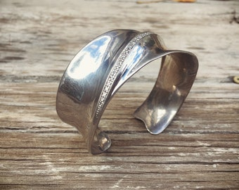 Vintage Diamond Sterling Silver Cuff Bracelet for Women, Contemporary Native American Style Jewelry