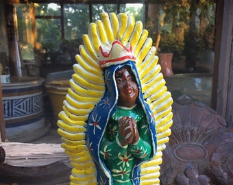 Vintage Clay Pottery Statue of Virgin of Guadalupe, Catholic Saints, Virgen de Guadalupe Mother Mary