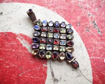 Vintage Sterling Silver Multi Gemstone Pendant for Women, Peridot Moonstone Garnet Amethyst Jewelry