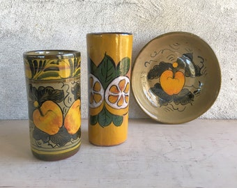 Mexican Pottery Vases Bowl Golden Yellow Fruit Decor, Southwestern Decor, Eclectic Style