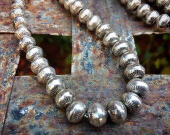 """56g Stamped Sterling Silver Navajo Pearls Necklace 26"""", Native American Indian Jewelry for Women"""