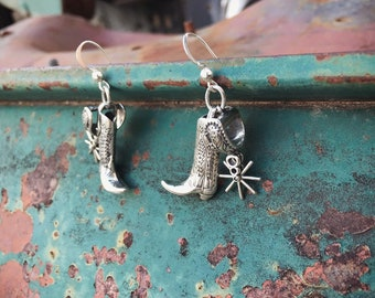 Miniature Boots with Moving Spurs Sterling Silver Earrings for Women, Southwestern Jewelry Western