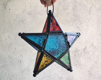 Vintage Metal and Pressed Glass Star Candle Holder Multicolor, Hanging Morocco Candle Lantern, Bohemian Decor