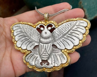 Rare Kenneth Jay Lane Moth Pendant Circa 1960s 1970s Gold and Silver Tone with Monet Necklace