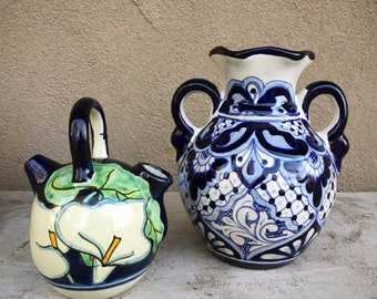 Mexican Vases Blue White Decor Bohemian Home, Talavera Pottery, Mexican Pottery, Boho Style