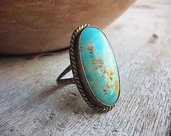Large Oval Turquoise Ring for Men Size 11, Native American Indian Jewelry Old Pawn Navajo, Mens Ring