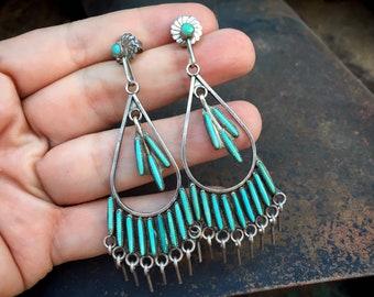 Vintage Sleeping Beauty Turquoise Needlepoint Earrings Silver Dangles, Zuni Native America Jewelry
