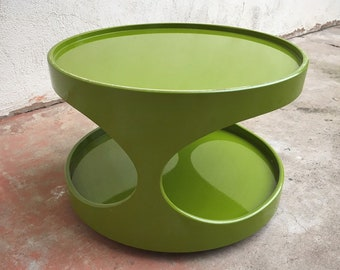 1970s Green Side Table by Erik van Buijtenen for Nebu Holland, Space Age Small Coffee Table Vintage