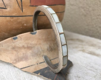 Sterling Silver Mother of Pearl Cuff Bracelet for Women or Men, Zuni Native American Indian Jewelry