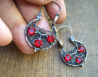 Mexican Silver Filigree Jewelry Hoop Earrings Red Rhinestone, Ruby Red Earrings for Prom, Spanish Earrings, Mexican Jewelry, Gift for Her
