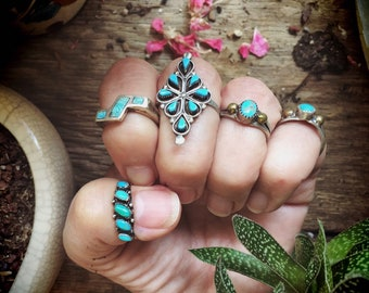 Vintage Turquoise Ring for Women Native American Indian Jewelry, Girlfriend Gift Birthday