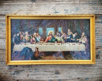 Framed Vintage Jesus Last Supper Lithograph Wall Hanging in Gold Frame, Jesus Christ Religious Art