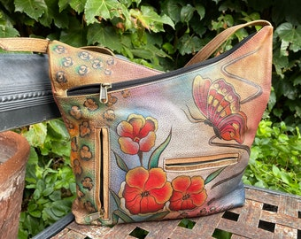 Vintage Hand Painted Leather Purse with Flowers and Butterfly, Bohemian Style, Leather Tote