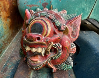 Vintage Hand Carved and Painted Balinese Wood Mask Barong Topeng, Indonesia Mythological Folk Art