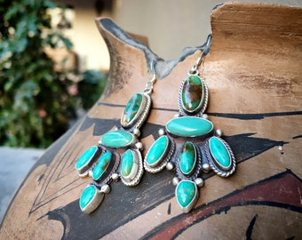 Cluster Chandelier Turquoise Dangle Earrings Sterling Silver, Navajo Native America Indian Jewelry, Rodeo Western, Anniversary Gift Wife
