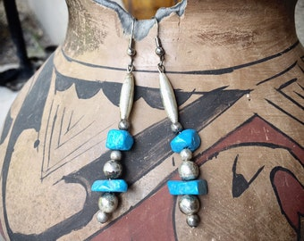 Silver Bead and Turquoise Nugget Dangle Earrings, Southwestern Jewelry, Boho Chic Hippie