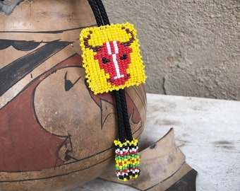 Child's Souvenir Beaded Bolo Tie for Cattle Steer Design Yellow and Red, Southwestern Western Tie