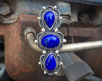 Huge Signed Navajo Blue Lapis Lazuli Ring for Women Size 9, Native America Indian Jewelry, Long Ring