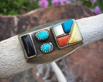 Heavy 1960s Multi Stone Turquoise Ring for Men Size 13.5, Native American Indian Jewelry