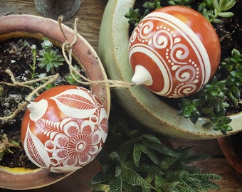 Two Burnished Pottery Mexican Christmas Ornaments by Jimon, Tonala Pottery, Mexican Folk Art