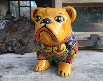 Orange Talavera Pottery Dog Figurine Bulldog Statue Mexican Pottery, Collectible Canine, Mexican Decor
