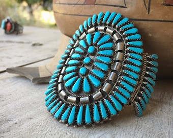 HUGE Signed Zuni Turquoise Cluster Cuff Bracelet, Vintage Native American Indian Jewelry