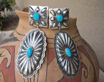 Big Sterling Silver Concho Turquoise Earrings for Women, Native American Indian Jewelry