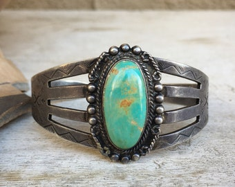 Fred Harvey Era Vintage Turquoise Cuff Bracelet for Woman, Southwestern Native American Style Jewelry