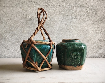 Two Small Vintage Chinese Shiwan Pottery Green Glazed Ginger Jars Celadon Earthenware Hexagon Vase