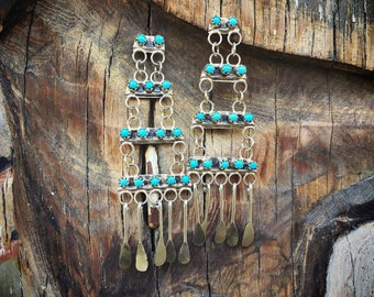 Vintage Sterling Silver Turquoise Earrings Southwestern Jewelry Native America Indian