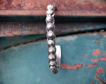 Signed Navajo Sterling Silver Stacking Bracelet for Women, Native American Indian Jewelry