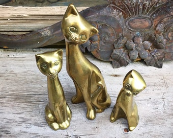 Three Brass Cats Family Figurines Statues, Cat Lover Gift for Cat Owner, Shelf Accent, Kitty Kitten Decorations