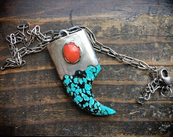 Vintage Turquoise Bear Claw Pendant with Coral and Sterling Silver Chain, Southwestern Jewelry