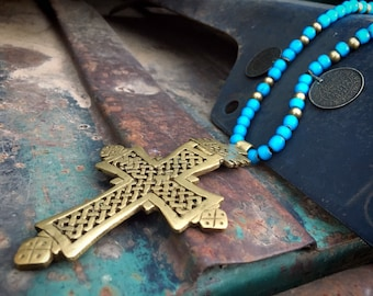 Vintage Brass Ethiopian Cross Pendant on Blue White Heart Trade Bead Necklace, Nomad Jewelry Axum