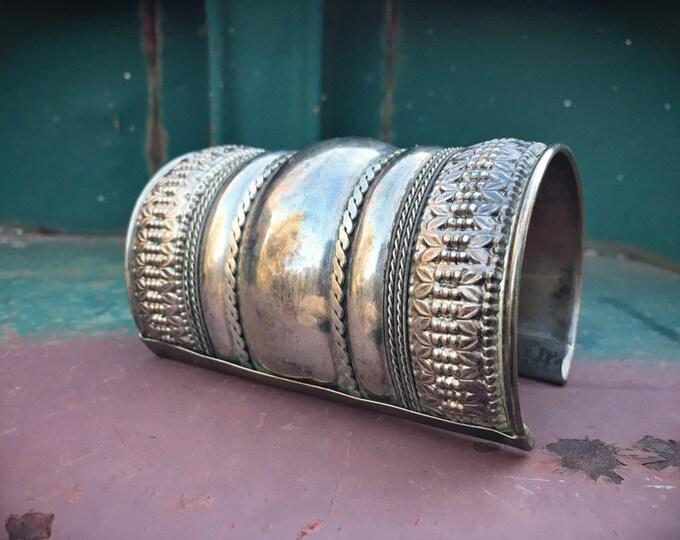 Featured listing image: German Silver Long Warrior Cuff Bracelet for Women, Ethnic Boho Jewelry Southwestern Style