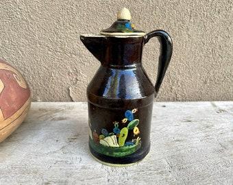 1940s Black Tlaquepaque Teapot with Sombrero Cactus Scene, Vintage Mexican Pottery, Rustic Decor